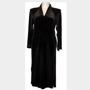 Oscar De La Renta Black Velvet Zipper Robe Sz 1X